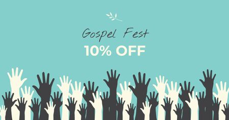 Gospel Fest Discount Offer with Hands Facebook AD Tasarım Şablonu