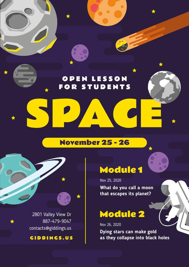 Space Lesson Announcement with Astronaut among Planets — Maak een ontwerp