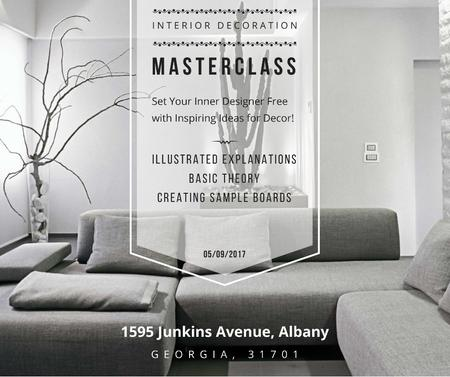 Interior decoration masterclass with Sofa in grey Facebook Design Template