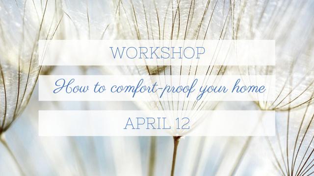 Home Workshop ad on Tender Dandelion Seeds FB event cover Modelo de Design