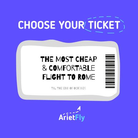 Designvorlage Travel Offer with Plane Ticket Illustration für Instagram