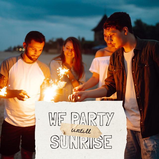 Designvorlage Party Invitation with Friends holding Sparklers für Instagram