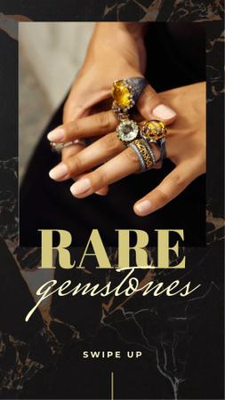 Modèle de visuel Woman in Rings with Rare Gemstones - Instagram Story