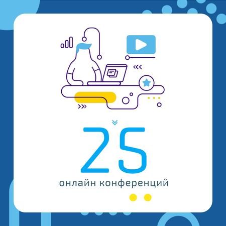 Online Conference invitation with Man at workplace Animated Post – шаблон для дизайна
