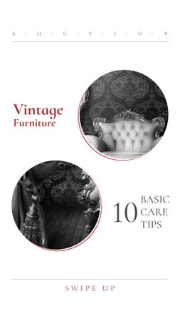 Plantilla de diseño de Vintage Furniture Offer with Luxury Armchair Instagram Story
