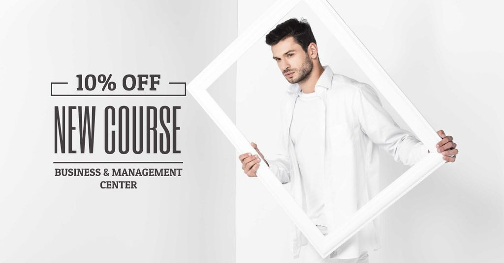 Business Course Offer with Man holding White Frame — Create a Design