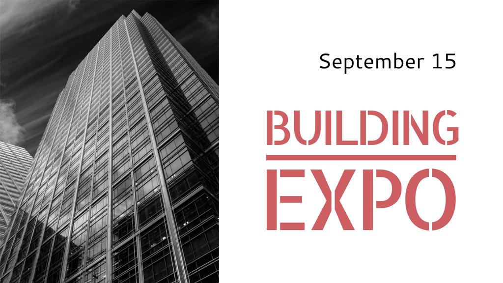 Building Expo Announcement with Modern Skyscraper — Maak een ontwerp