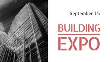 Building Expo Announcement with Modern Skyscraper