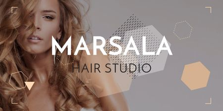 Template di design Marsala hair studio banner Image