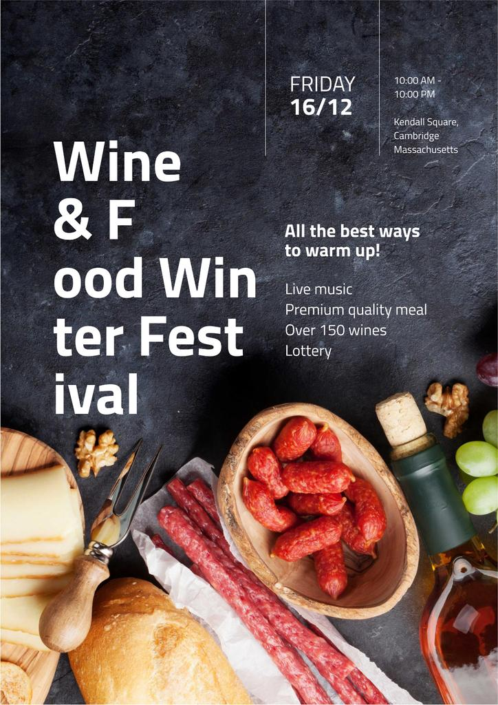 Food Festival Invitation with Wine and Snacks — Maak een ontwerp