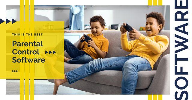 Kids playing vr game Facebook AD – шаблон для дизайна