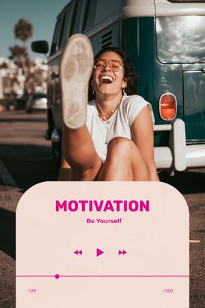 Modèle de visuel Motivational Phrase with Happy Young Woman - Pinterest