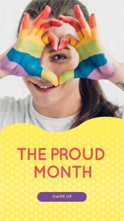 Ontwerpsjabloon van Instagram Story van Pride Month Announcement with Girl showing Rainbow Heart