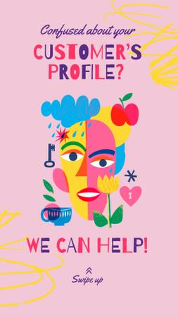 Marketing Courses Ad with Creative Portrait Instagram Story Modelo de Design