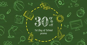 Back to School Offer with Stationery Icons