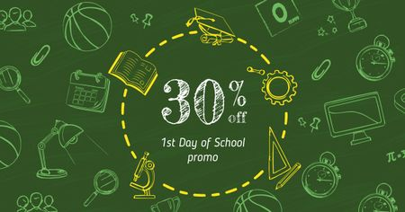 Plantilla de diseño de Back to School Offer with Stationery Icons Facebook AD