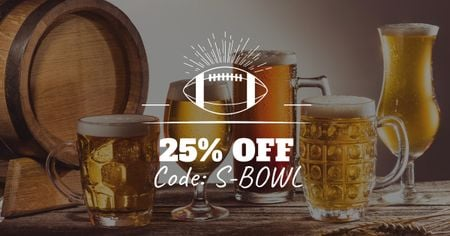 Modèle de visuel Super Bowl Ad with Beer Discount Offer - Facebook AD