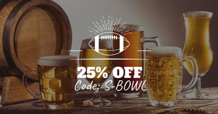 Super Bowl Ad with Beer Discount Offer Facebook AD Design Template