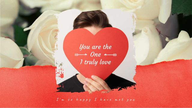 Young Man with Valentine's Day Card on Roses  Full HD video Modelo de Design