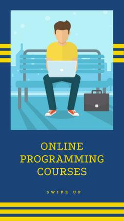 Online Programming Courses Ad with Programmer in Park Instagram Story Modelo de Design