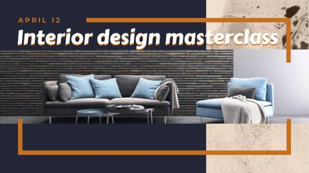 Interior Design Masterclass announcement FB event cover Tasarım Şablonu