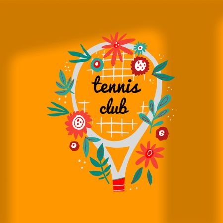 Tennis Club Ad with Floral Racket Logo – шаблон для дизайну