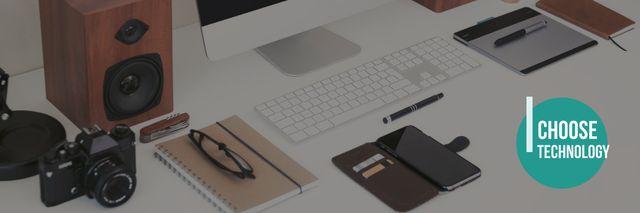 Choose technologies poster with modern digital devices Twitter Modelo de Design
