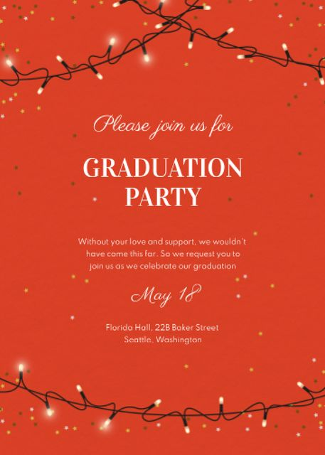 Graduation Party Announcement with Festive Garland Invitation – шаблон для дизайна