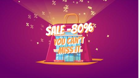 Shopping bag with percent icons Full HD video – шаблон для дизайна