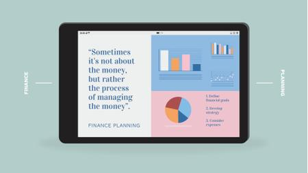 Plantilla de diseño de Business Phrase with Diagrams on Tablet Screen Full HD video