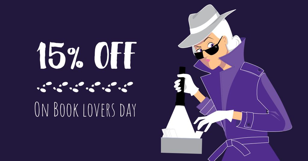 Book Lovers Day Offer with Woman Detective — Create a Design