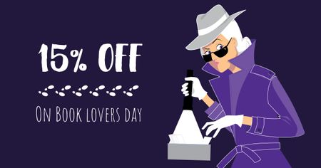 Template di design Book Lovers Day Offer with Woman Detective Facebook AD