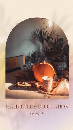 Platilla de diseño Halloween Decorations offer with Pumpkin and Cup Instagram Story