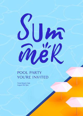 Designvorlage Summer Pool Party Announcement with Beach Umbrellas für Invitation