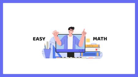Ontwerpsjabloon van Youtube van Man Teaching Math Online