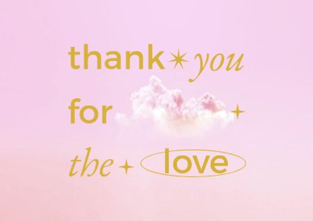 Plantilla de diseño de Love Phrase with Cute Pink Clouds Card