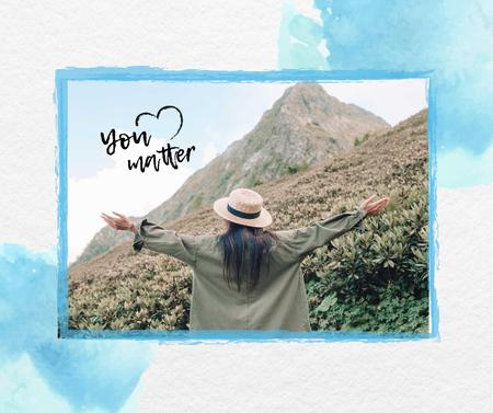 Mental Health Inspiration with Woman in Mountains Facebookデザインテンプレート