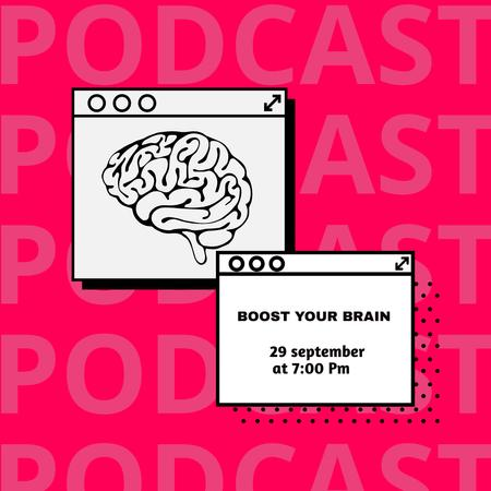 Educational Podcast Announcement with Brain Illustration Instagram – шаблон для дизайну