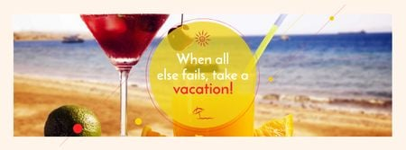 Vacation Offer with Cocktail at the Beach Facebook cover – шаблон для дизайна