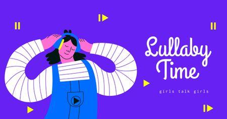Platilla de diseño Girly Podcast Topic Announcement Facebook AD