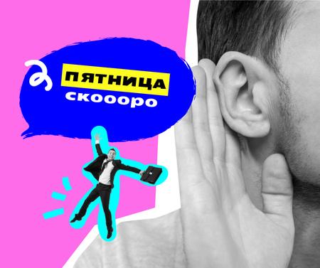 Funny Illustration of Little Businessman on Man's Shoulder Facebook – шаблон для дизайна