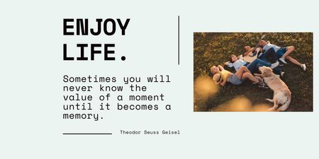 Plantilla de diseño de Inspirational Phrase with Kids laying on Grass with Dog Twitter