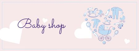 Ontwerpsjabloon van Facebook cover van Baby Shop Ad with Kid's Stuff in Heart