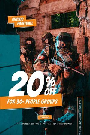 Paintball Club Ad with People holding Guns Tumblr tervezősablon