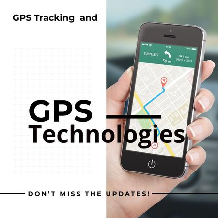 Template di design GPS technologies Ad with Map mark on Phone Instagram