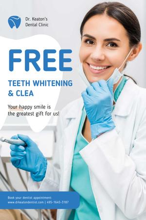Modèle de visuel Dentistry Promotion with Smiling Woman Dentist - Pinterest