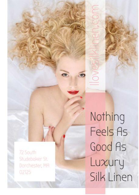 Ontwerpsjabloon van Invitation van Woman resting in bed with silk linen