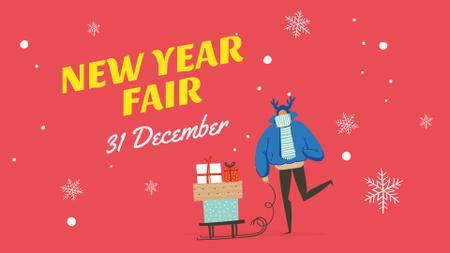 New Year Fair Announcement with Deer and Gifts FB event cover Modelo de Design