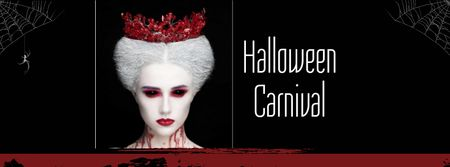 Halloween Carnival Announcement with Scary Woman Facebook cover Modelo de Design