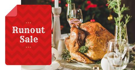 Modèle de visuel Christmas Sale whole Roasted Turkey - Facebook AD